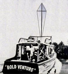 Ziv Productions' concept of the powerboat Bold Venture, namesake of the Radio production