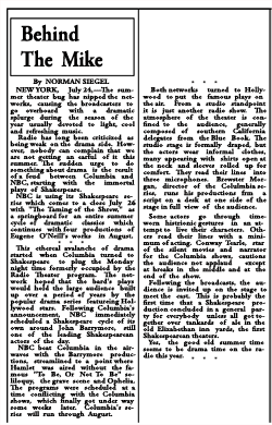 The Charleston Daily Mail article of July 25 1937 discussing the Shakespeare offerings of both CBS and NBC for the summer.