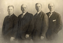 Rotary International's first four 'Rotarians': Gustavus Loehr, Silvester Schiele, Hiram Shorey, and Paul P. Harris circa 1905, Courtesy of Rotary Images.