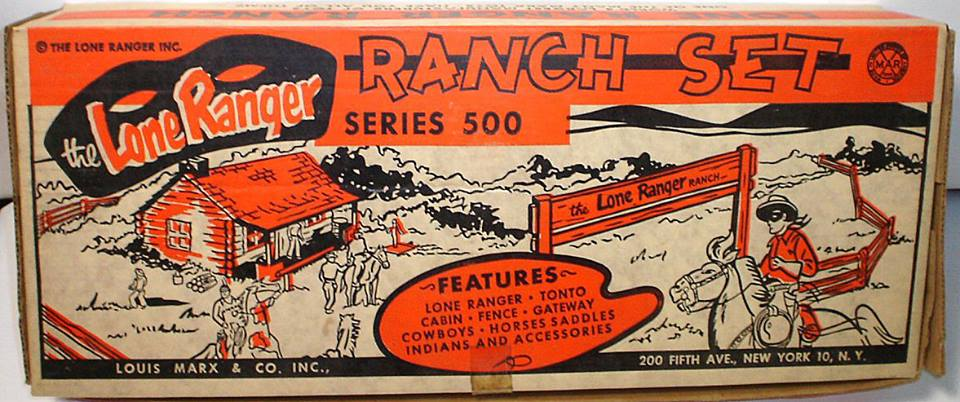 There were four different LONE RANGER Ranch playlets from 1955 to 1958. This one is the fourth and last one. The set added the 35-piece cowboy weapons sprue, but had fewer Indians.