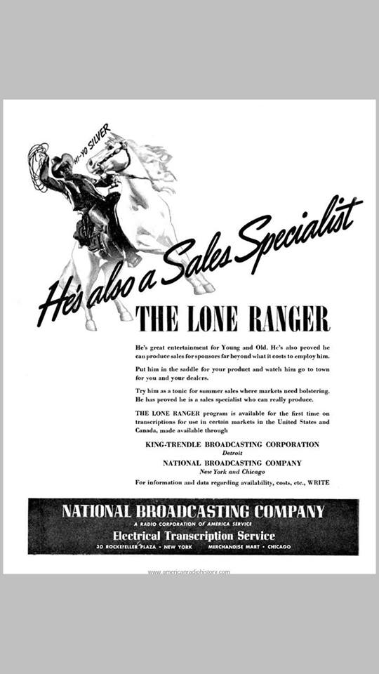 This one is from 1938, The Lone Ranger was on Mutual then