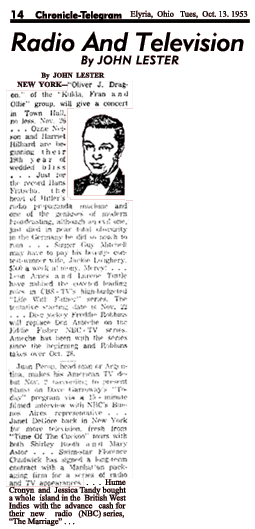 Oct. 13 1953 Ohio news clipping citing The Marriage.