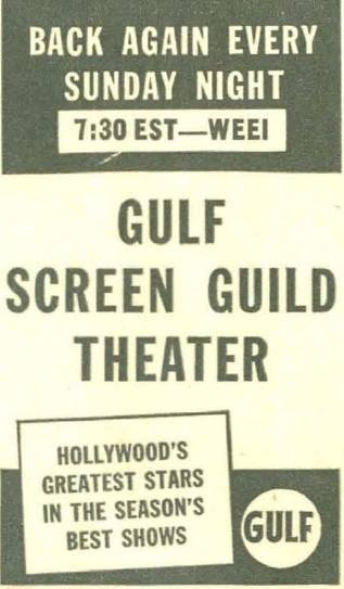 The Screen Guild Theater is a popular radio anthology series during the Golden Age of Radio, broadcast from 1939 until 1952, with leading Hollywood actors performing in adaptations of popular motion pictures such as Going My Way and The Postman Always Rings Twice.  The show had a long run, lasting for 14 seasons and 527 episodes. It initially was heard on CBS from...