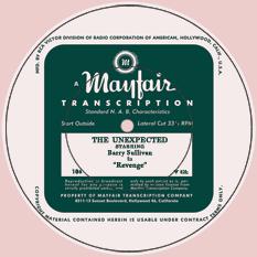 1948 Mayfair Transcription label for transcription number 106, 'Revenge.' starring Barry Sullivan
