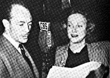 Les Tremayne and Claudia Morgan at a CBS mike for The Adventures of The Thin Man, ca. 1944