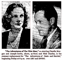 Spot ad announcing the return of The Adventures of The Thin Man as a summer replacement for Ozzie and Harriet from June 20 1950