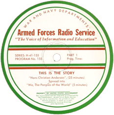 AFRS transcription label for This Is the Story episode No. 155 'Hans Christian Anderson'