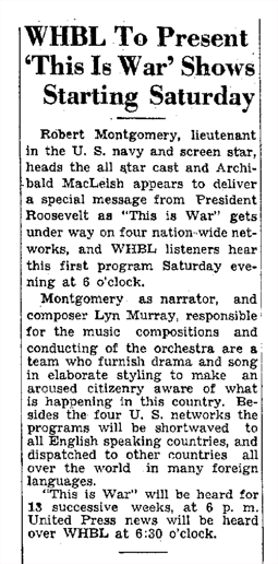 Announcement of This Is War series from February 13 1942