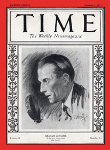 Graham McNamee on cover of Time Magazine from Oct 3 1927