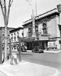 The setting for the original Tree of Hope in front of the Lafayette Theatre, ca. 1935