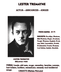 Lester Tremayne entry from the October 1940 edition of Lew Lauria's Radio Artists Directory