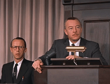 Two Radio legends--Olan Soulé and Les Tremayne, in one frame from Alfred Hitchcock's North by Northwest (1959)