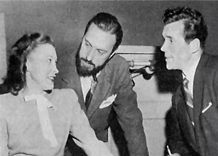 Howard Duff with his two mentors, Lurene Tuttle, left, and William Spier, center. ca. 1946