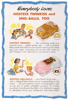 Twinkies and Sno-Balls ad from 1946