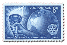 United States Postal Service issue of 1955 commemorating the 50th Anniversary of Rotary