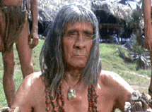 Victor Jory as the aboriginal chief in Papillion (1973)