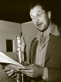 Vincent Price at CBS mike for The Saint circa 1948