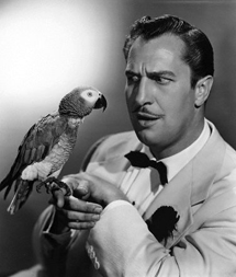 Vincent Price as soap magnate Burnbridge Waters in Champagne for Caesar (1950), here seen with Caesar the parrot