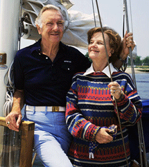 Walter Cronkite and his wife Betsy aboard their yacht