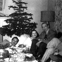 Bela Lugosi celebrates the holidays with Ed Wood, ca. 1955