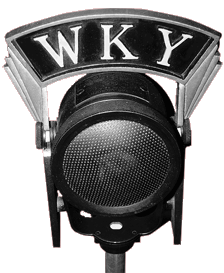 WKY Radio microphone and flag from 1930s
