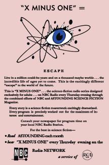 Astounding Magazine ad for X Minus One on Radio