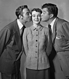Betsy Drake with Zachary Scott and Dennis Morgan in Pretty Baby (1950)