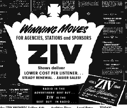 Thumbnail of two-page Ziv broadside for 1951 syndications offered.