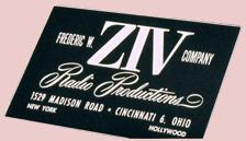 Ziv Radio Productions logo, ca. 1948